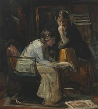 interior with two women in conversation by herman albert gude vedel