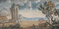 figuren vor ruinen an einem hafen by johann (hans) konig