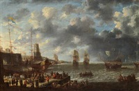 harbour scene with dutch ships arriving by jan peeters the elder