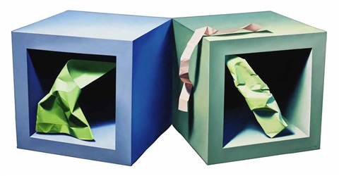 twin cubes with paper objects by yrjö edelmann
