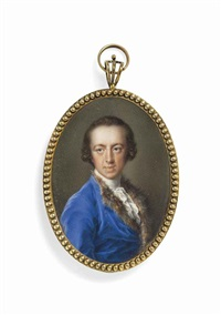 a gentleman, formerly called sir horace walpole 4th earl of orford (1813-1894), in blue coat trimmed with fur, white shirt and frilled cravat... by pompeo girolamo batoni