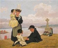 bretonne et ses enfants, bord de mer (2 works) by marcel-j.-l. jacquier