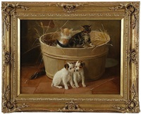 young friends, kittens and puppies at play by fannie moody