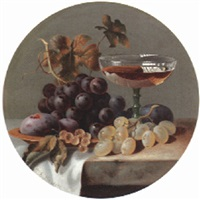 grapes, plums and a glass on a stone ledge by charles e. baskett
