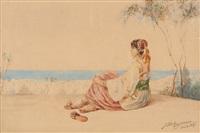 jeune orientale regardant la mer by jan baptist huysmans