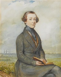 a young gentleman, seated in a landscape holding an open book, wearing grey frock coat, tan waistcoat, white chemise and black cravat held with stickpin by johannes baptista van acker