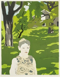 girl in the woods (green girl; under the elms) by fairfield porter