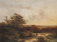 a wooded landscape with a village in the background by pieter lodewijk francisco kluyver