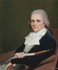 portrait of john buller of trenant, cornwall in a blue jacket, sitting in an armchair, holding a shisha pipe by robert home