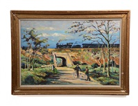 arlington, virginia scene with two figures on bike and train by michael d' aguilar