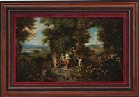 vier allegorische darstellungen der elemente: erde, wasser, luft und feuer by jan brueghel the younger