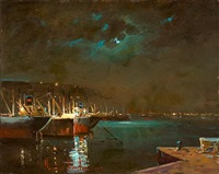 moonlit harbour by alexandros vakirtzis