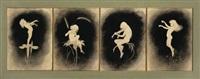 musizierende kinder auf blütenstengeln (4 works in 1 frame) by hugo hoppener fidus