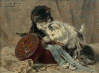chatons jouant autour d'un coffret à bijoux by henriette ronner-knip