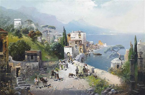 a busy coastal path on the bay of naples vesuvius beyond by robert alott