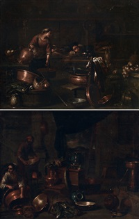 interni di cucina con figure (pair) by giovanni domenico valentino