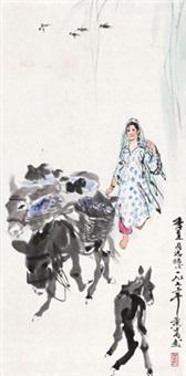 赶驴图 立轴 设色纸本 (painted in 1973 donkeys) by huang zhou