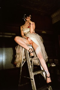 trixie on a ladder, nyc, 1979 by nan goldin