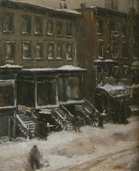a new york street scene by louis frederick berneker