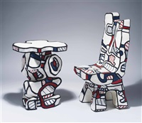 guéridon and chaise de pratique fonction ii (2 works) by jean dubuffet