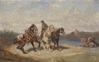 treidelpferde an der donau by alexander ritter von bensa