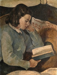 girl reading by georges (karpeles) kars