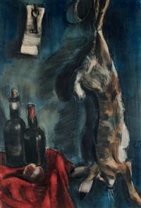 nature morte au lièvre et bouteilles de vin by henri le fauconnier