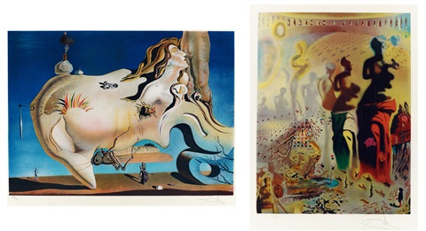 a巨大的手淫者 b維納斯 a el gran masturbador b venus set of 2 by salvador dalí
