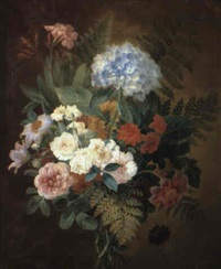 still life of a bouquet of flowers and ferns by adèle riché