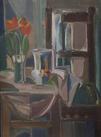 vase mit tulpen und krug auf kleinem tisch, mit sessel by ernst paar