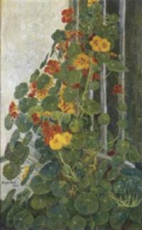 busk med gule og rode blomster by olga harriet aae