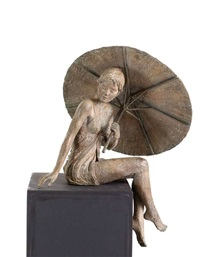 fille assise au parasol by gis de maeyer