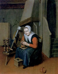 an interior with an old woman seated at a spinning wheel warming her hands over a brazier by johannes dircksz oudenrogge