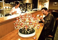 ai-chan bonsai (pine) at japanese-style restaurant (collaboration w/ai kato) by makoto aida