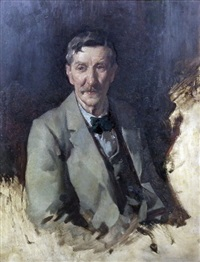 half length portrait of mr james bow dunn (1861-1930) by david alison