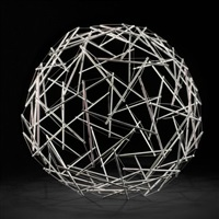 90-strut tensegrity geodesic dome by buckminster fuller