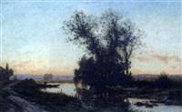 bord de rivière au coucher de soleil by alexandre-charles-joseph gittard