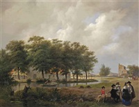 a painter and his patrons near the ruin of brederode castle by huib van hove bz and bartholomeus johannes van hove