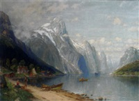 fisherfolk at a fjord village by c. th. schmitz