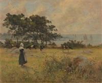 bretonne et son troupeau devant la mer by eugène labitte