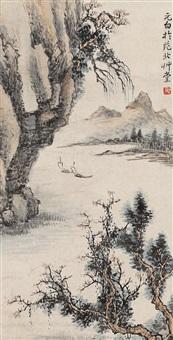 山水小品 立轴 设色纸本 by qi gong