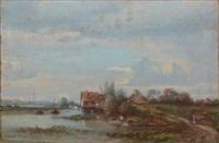 maisons et barques à la rivière by camille flers