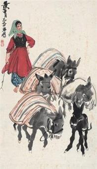 赶驴图 by huang zhou