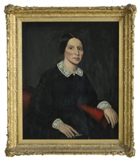 portrait of a woman in a black dress with lace collar and cuffs by ammi phillips