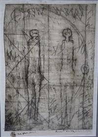 twee abstracte figuren by anton heyboer