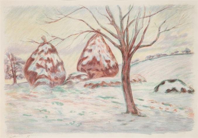 paysage aux meules ou les meules en hiver by armand guillaumin