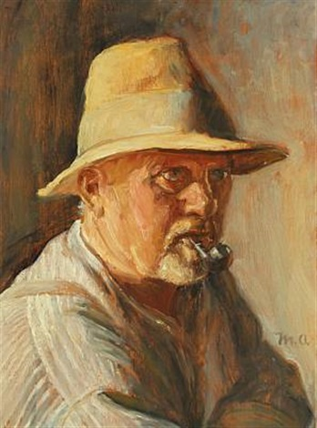 portrait of a man with pipe by michael peter ancher
