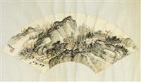 autumn landscape fan leaf by xiao xun