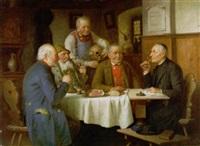 herbergtafereel met wijndrinkers by josef wagner hohenberg