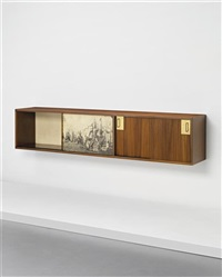 unique wall-mounted cabinet, designed for the apartment of ingegner preti, milan by gio ponti and piero fornasetti
